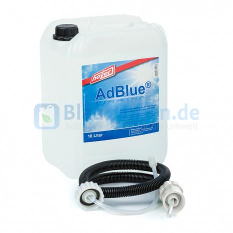 AdBlue® 10 Liter Kanister mit Hoyer Füllschlauch - Hochreine Harnstofflösung für SCR-Abgasnachbehandlung