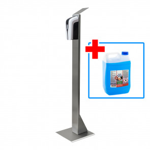 Desinfektionsmittel Spender mit Sensor zebra, EDELSTAHL, Desinfektionsmittelspender, inkl. 5 Liter Kanister Erstbefüllung
